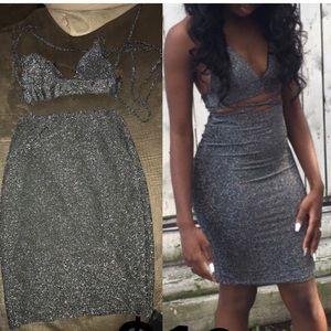 Glittery two piece skirt set!